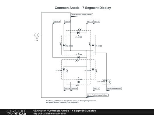 Circuitlab common anode 7 segment display