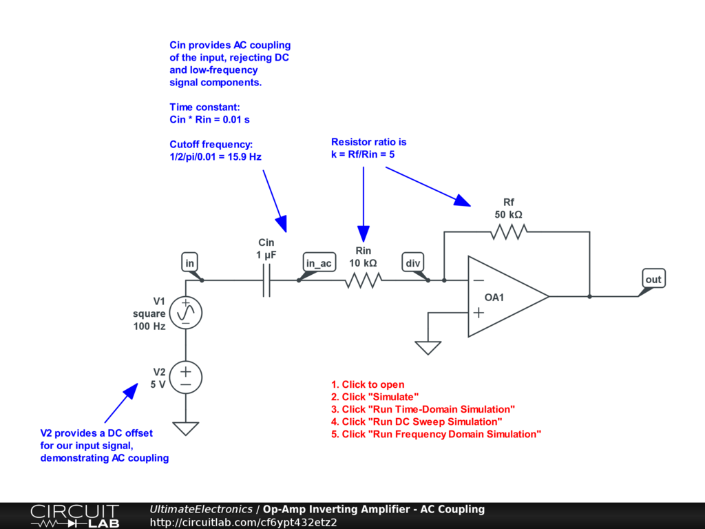 Op-Amp Inverting Amplifier - AC Coupling
