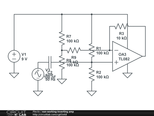 non-working-inverting amp