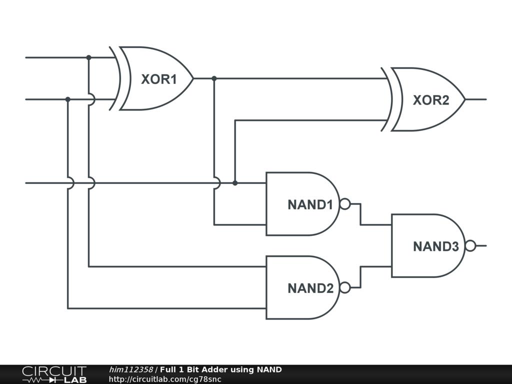 Full 1 Bit Adder using NAND - CircuitLab