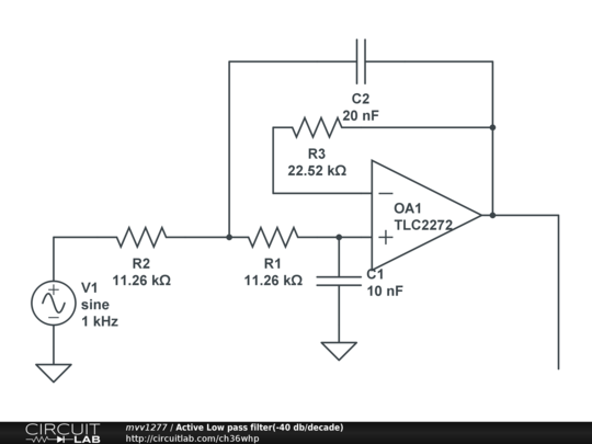 active low pass filter -40 db  decade