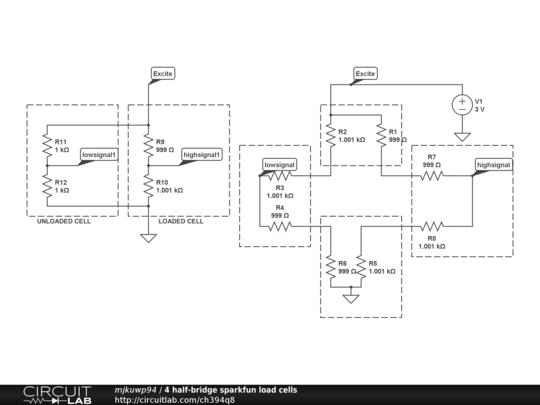 4 half-bridge sparkfun load cells - CircuitLab on class a simple wire diagram, load cell schematic symbol, bridge diagram, cell battery diagram, float switch wiring diagram, simple circuit diagram, load cell interface, load cell amplifier, load cell mechanical diagram, napco 1000 circuit board diagram,