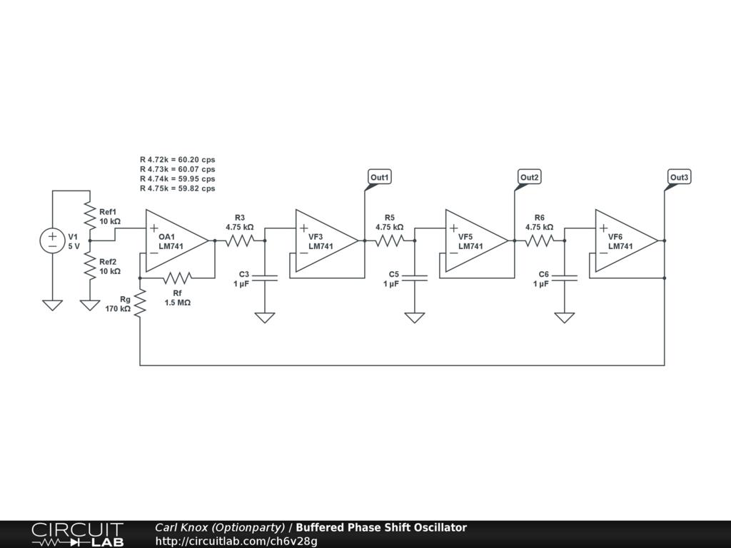 Public Circuits Tagged Oscillator Circuitlab Rc Bridge And Circuit Oscillatorcircuit Buffered Phase Shift