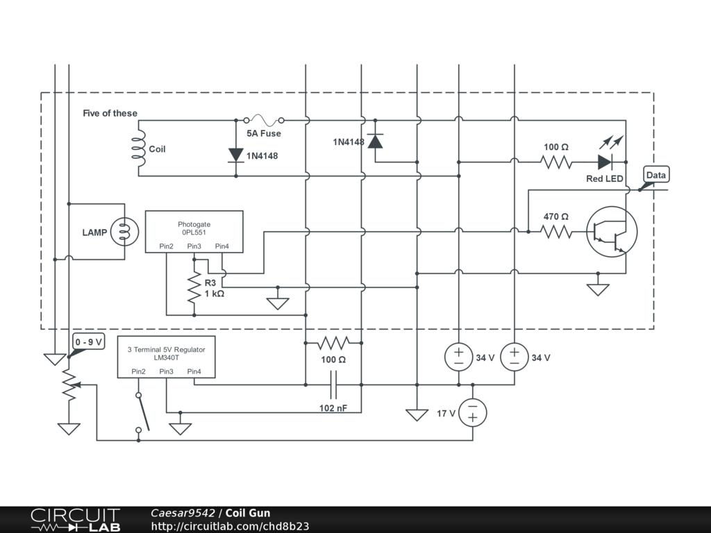 Coil Gun Circuitlab Schematics Diagram Of The Circuit