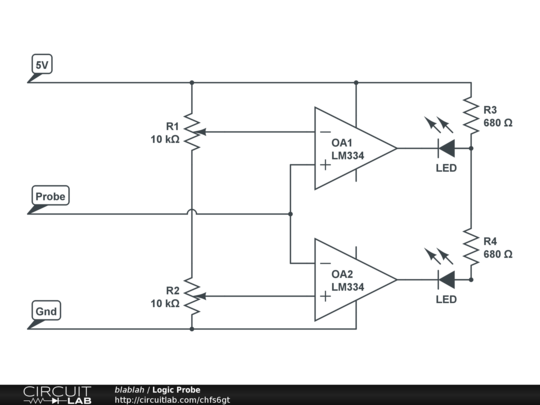 Logic Probe - CircuitLab on simple schematic, esr meter schematic, crystal tester schematic, combination lock schematic, audio amplifier schematic, metal detector schematic, spectrum analyzer schematic, oscilloscope schematic, geiger counter schematic, breadboard schematic, marx generator schematic, digital voltmeter schematic, signal generator schematic, logic model schematic, logic gate schematics, logic analyzer schematic, logic controller schematic, usb cable schematic, pwm motor control schematic, multimeter schematic,