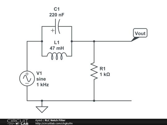 RLC Notch Filter - CircuitLab on