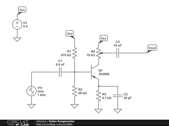 Dallas Rangemaster - CircuitLab on vintage hofner guitar schematic, bk drive pedal schematic, treble booster schematic, klon centaur schematic, dyson schematic,