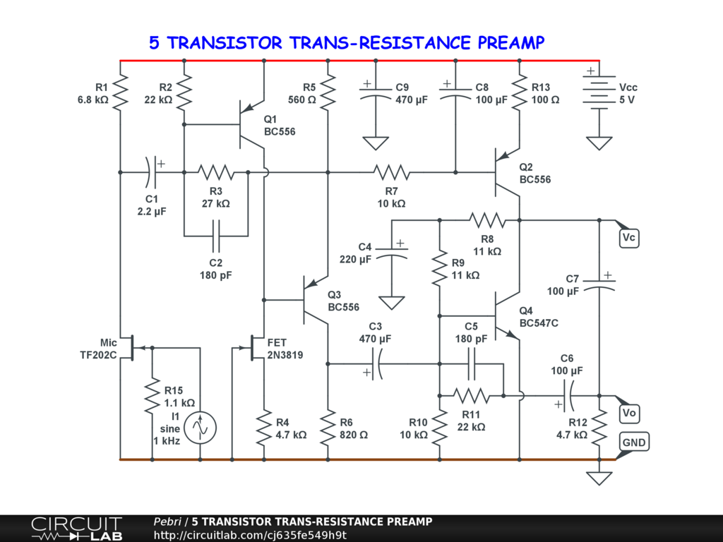 5 TRANSISTOR TRANS-RESISTANCE PREAMP - CircuitLab on transistor phaser schematic, transistor tremolo schematic, transistor amplifier schematic, transistor amp schematic, transistor design, transistor flanger schematic, transistor switch schematic, transistor radio schematic,