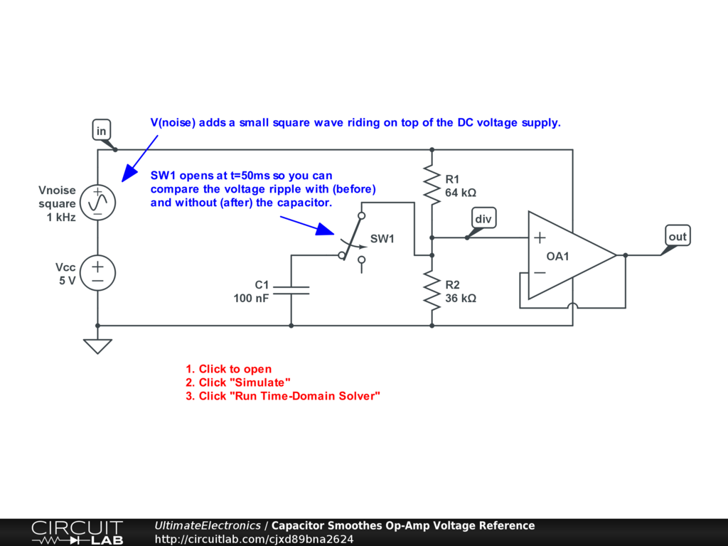 Capacitor Smoothes Op-Amp Voltage Reference