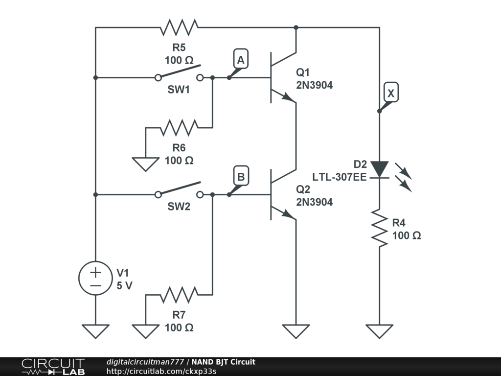 Nand Bjt Circuit Circuitlab Logic Diagram Of Gate
