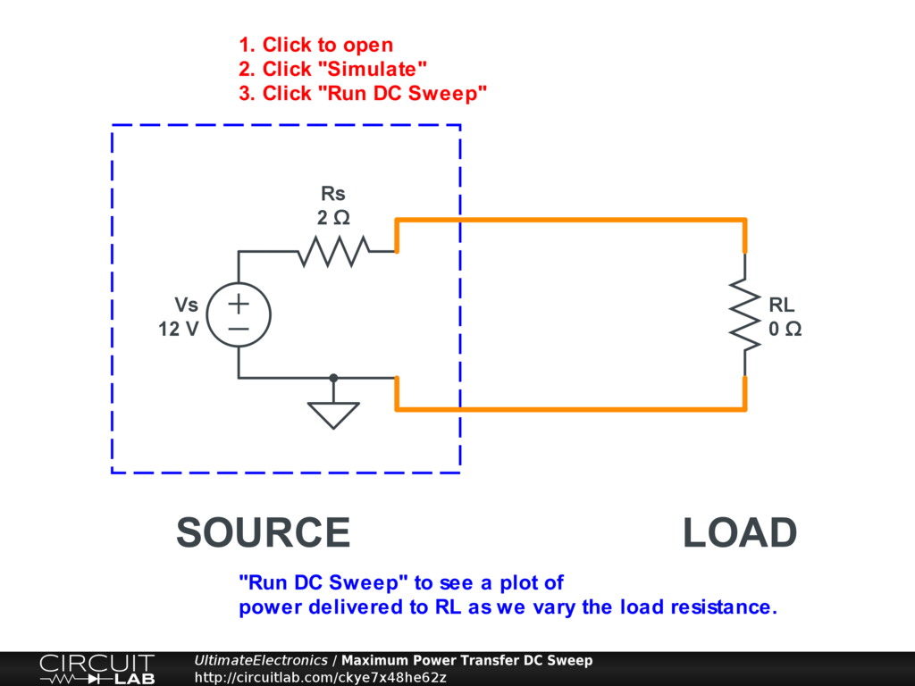 Maximum Power Transfer And Impedance Matching Ultimate Circuit Diagramscircuitlab Online Schematic Editor Interactive