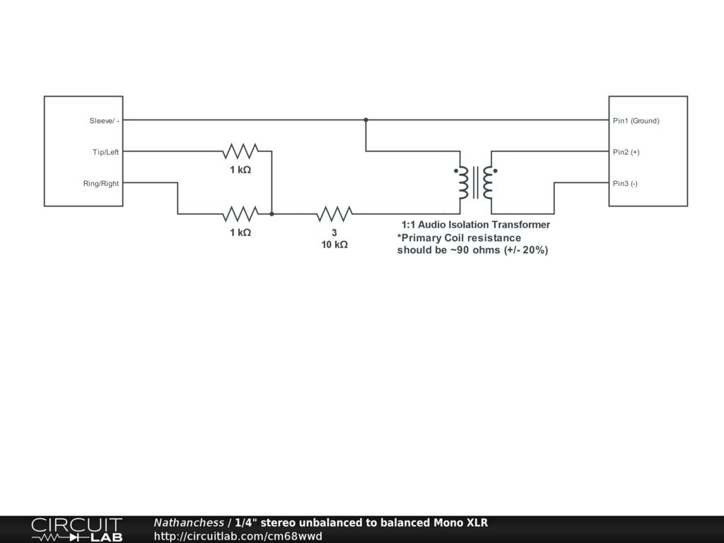 Balanced Xlr To Unbalanced 1 Wiring Diagram 1990 Cadillac Allante Transformer 14 Stereo Mono Circuitlab 1024x768 4