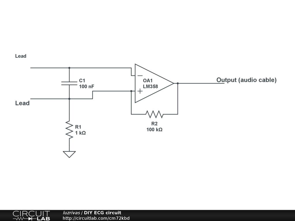 Diy Ecg Circuit Circuitlab Diagram