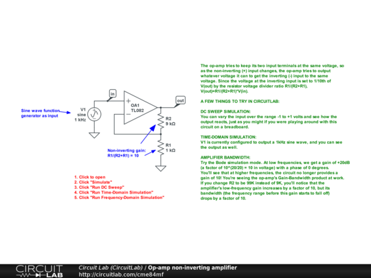 op amp non inverting amplifier circuitlabdescription the op amp