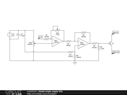 simple single supply VCA - CircuitLab on
