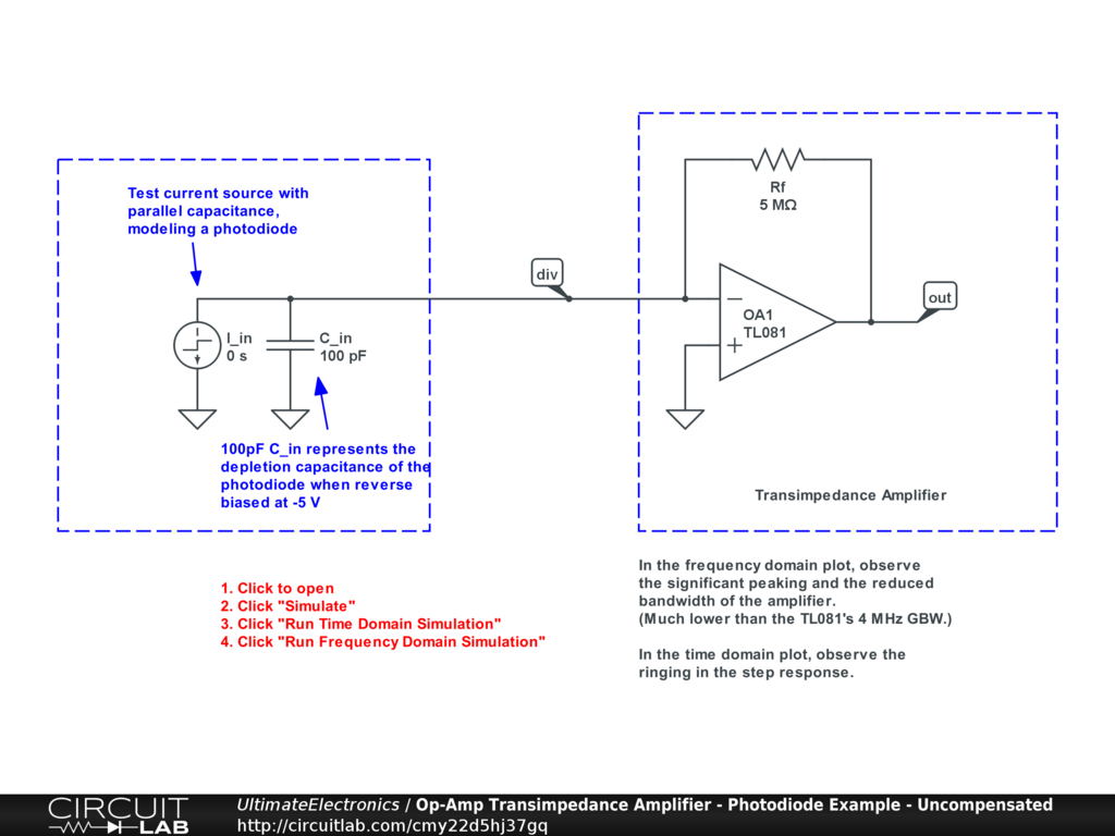 Op-Amp Transimpedance Amplifier - Photodiode Example - Uncompensated