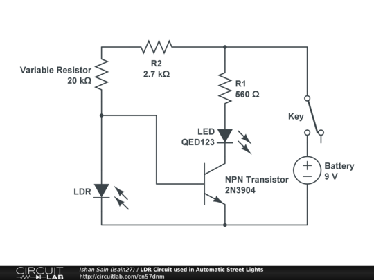 LDR Circuit used in Automatic Street Lights - CircuitLab