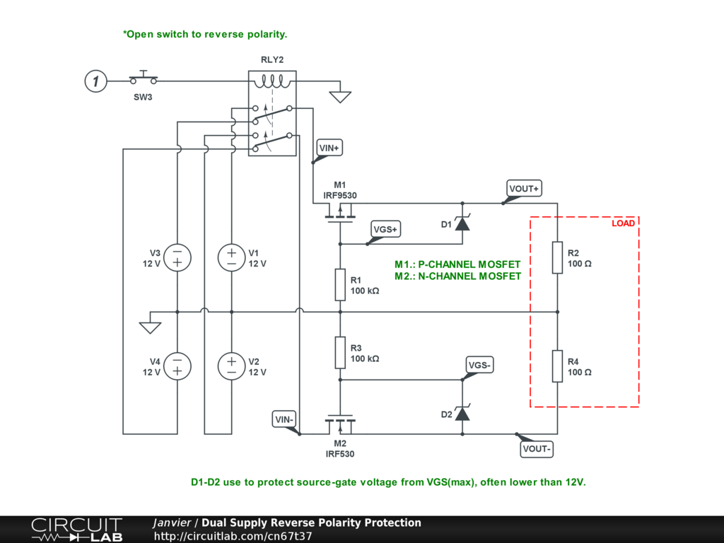 Inverter Circuit Reverse Polarity Wiring Diagram And Ebooks Dual Supply Protection Circuitlab Rh Com Battery Switch