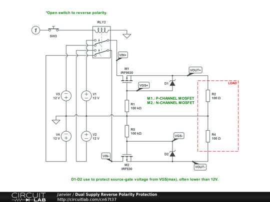 Dual Supply Reverse Polarity Protection - CircuitLab