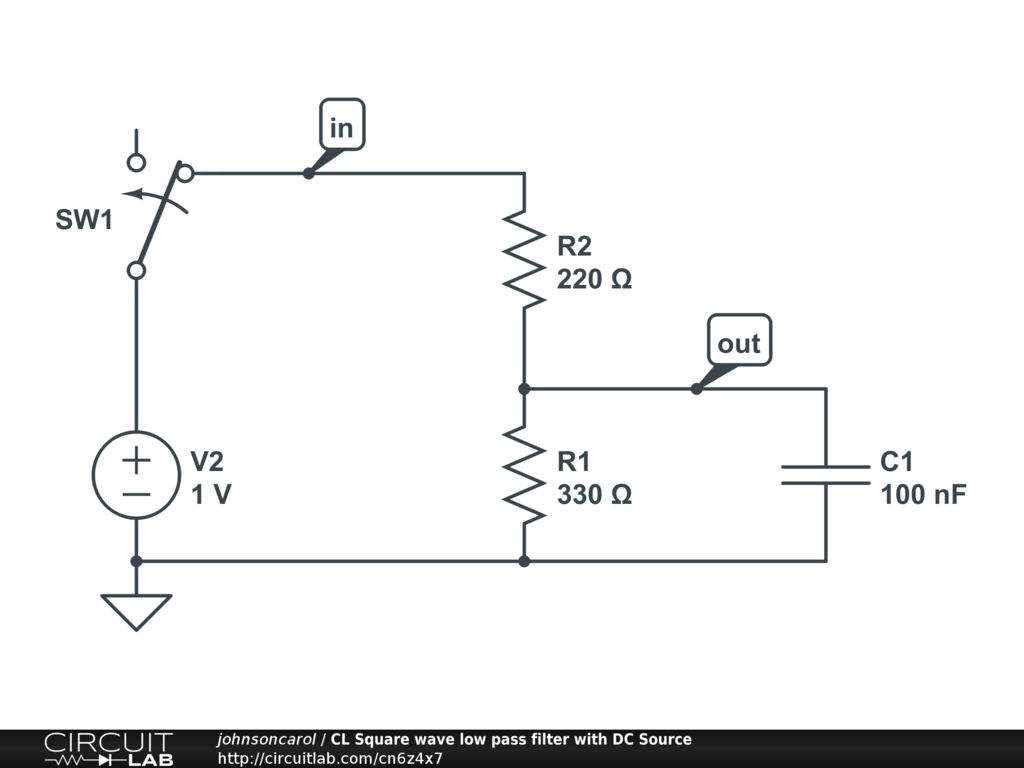 Cl Square Wave Low Pass Filter With Dc Source Circuitlab Schematic Diagram Circuit