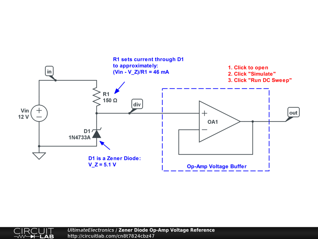 Zener Diode Op-Amp Voltage Reference