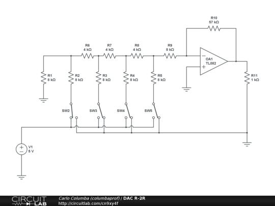 dac r 2r circuitlab  r 2r ladder dac circuit diagram #6