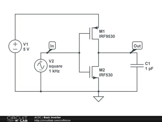 basic cmos inverter circuitlab rh circuitlab com Inverter Schematic Diagram Power Inverter Circuit Diagram