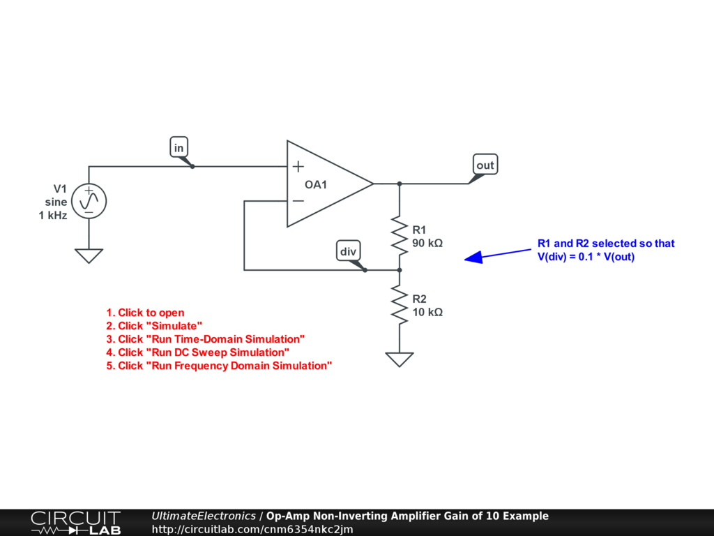 Op-Amp Non-Inverting Amplifier Gain of 10 Example