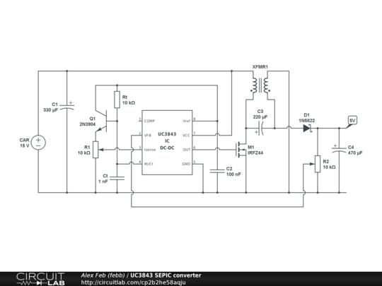 UC3843 SEPIC converter - CircuitLab