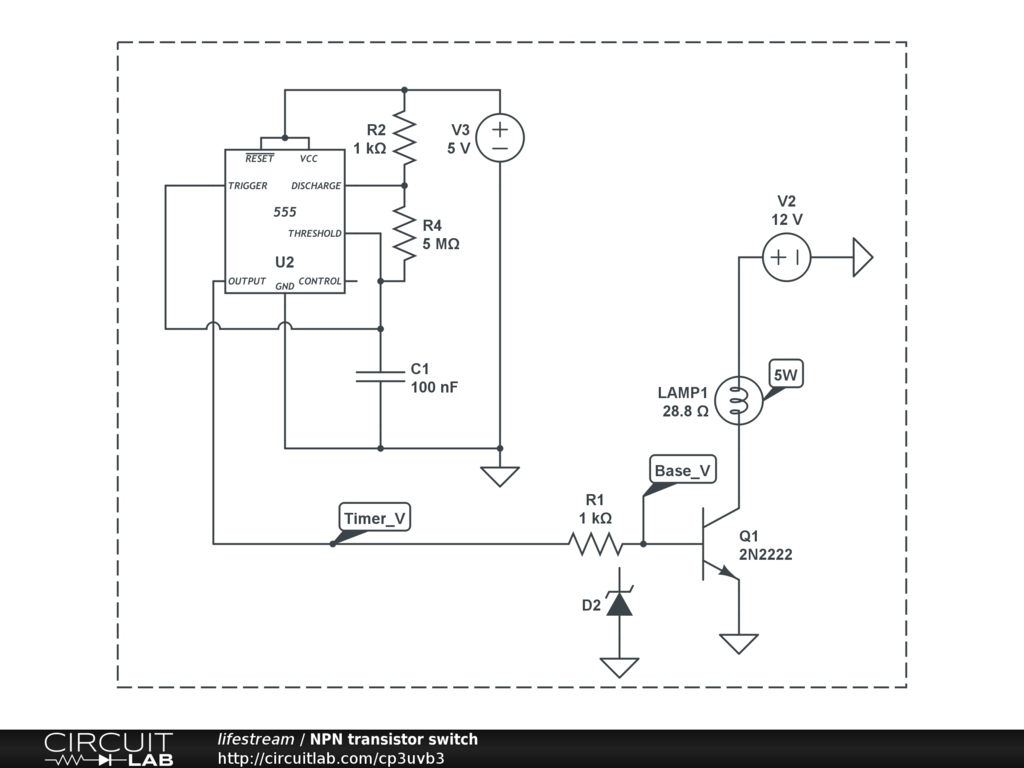 Npn Transistor Switch Circuitlab Circuits Circuit