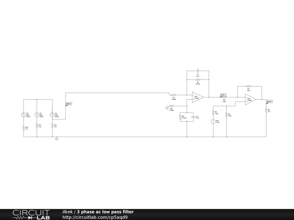 3 Phase Ac Low Pass Filter Circuitlab Schematic Diagram Circuit