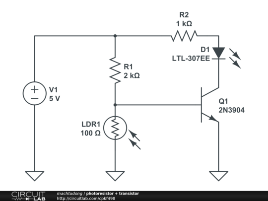 photoresistor + transistor - CircuitLab
