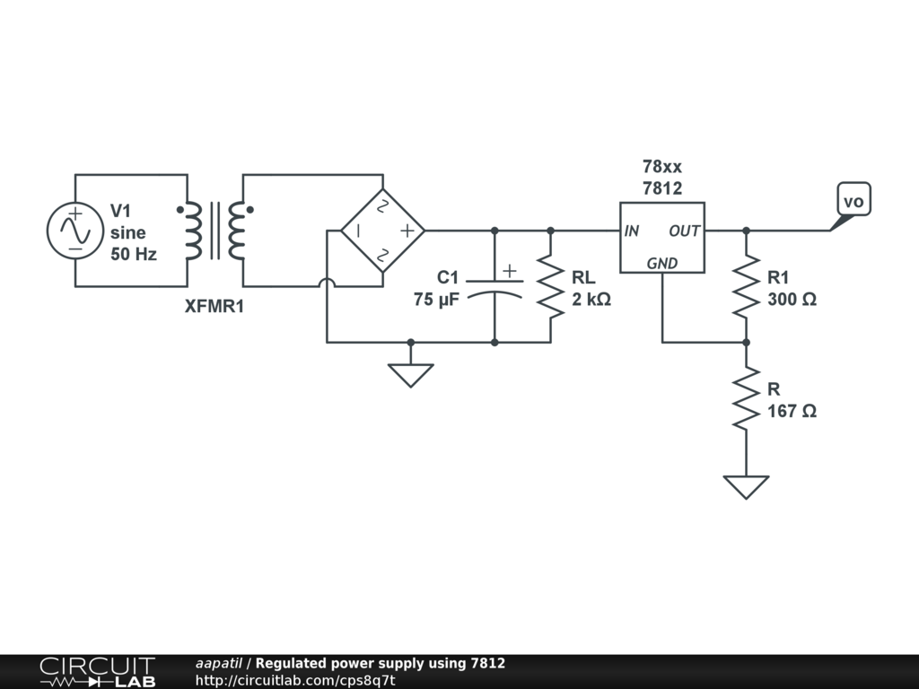 Regulated Power Supply Using 7812 Circuitlab Symmetrical Schematic Circuits Circuit