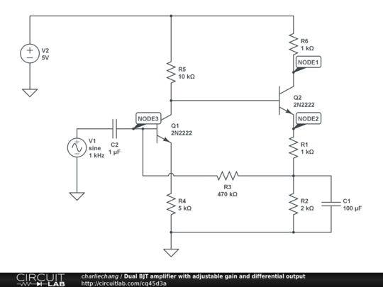 Dual BJT amplifier with adjustable gain and differential output
