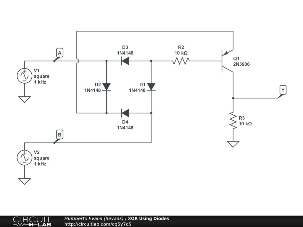 Public Circuits Tagged Xor Circuitlab This Is A Transistor Logic Ttl And Gate Circuit Using Diodes