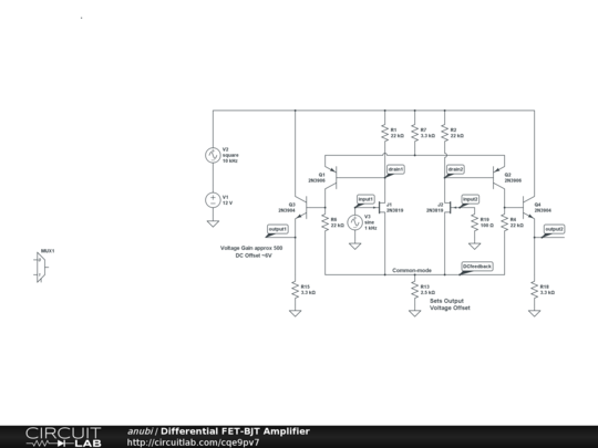 differential fet-bjt amplifier