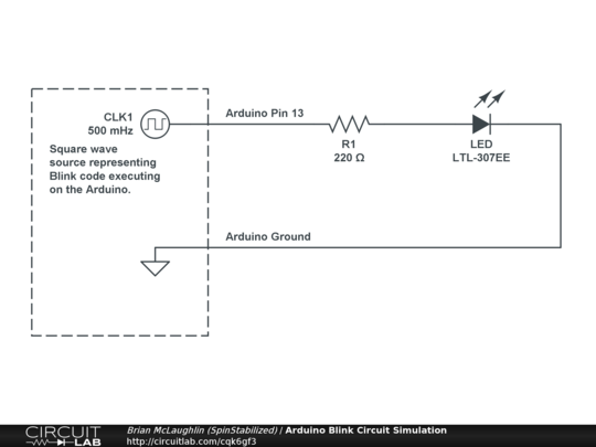 Arduino Blink Circuit Simulation - CircuitLab on arduino amplifier, arduino dmx controller, flash circuit schematic, mbed circuit schematic, arduino pcb layout, arduino transistor, iphone circuit schematic,