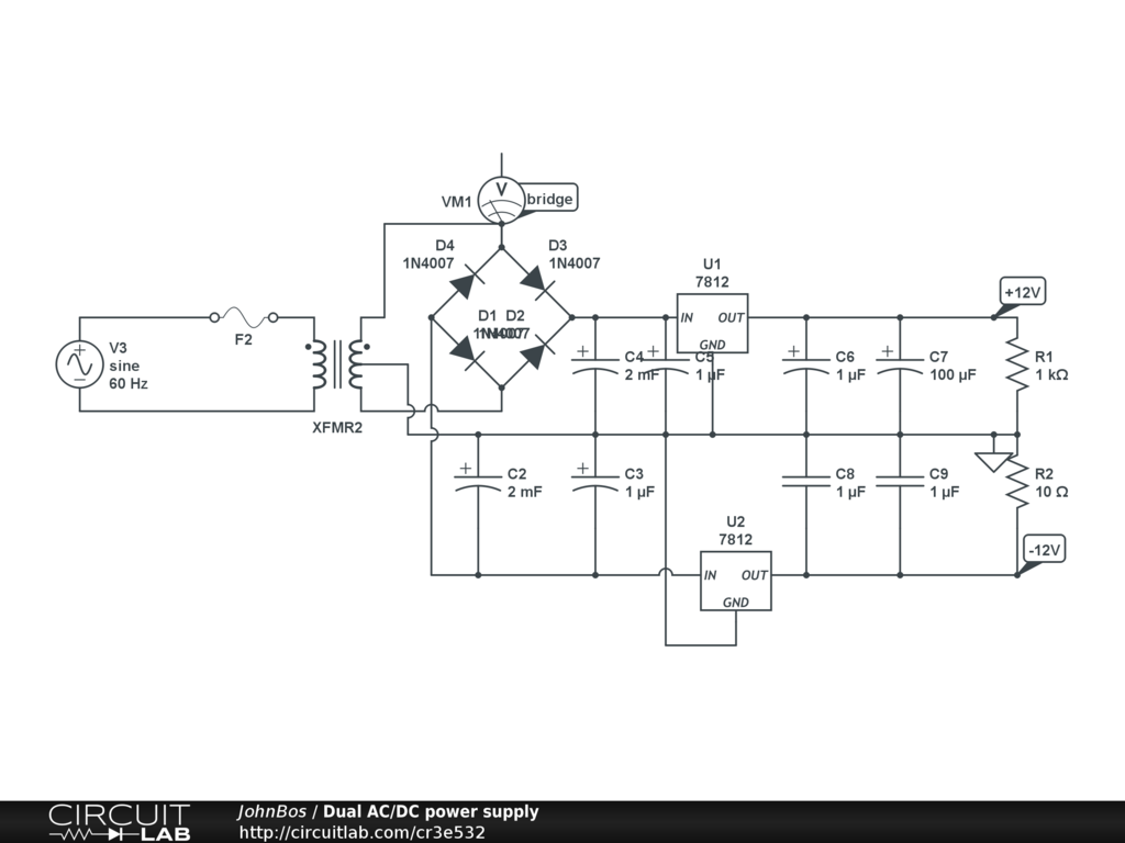 Dual Ac Dc Power Supply Circuitlab 12v Schematic Wiring Circuit