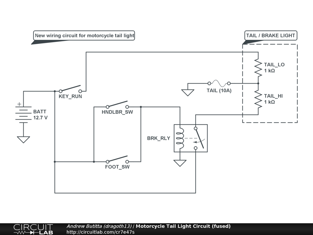Motorcycle Tail Light Circuit Fused Circuitlab Wiring Diagram 2 Way Lighting
