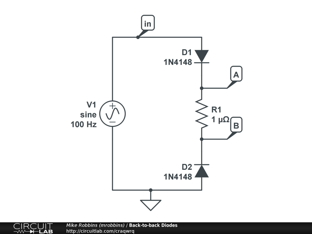 Back-to-back Diodes - CircuitLab on blocking diode diagram, diode flow chart, diode voltage, diode wiring, diode schematic label, diode circuit problems, switching diode diagram, diode connection diagram, diode pinout, diode relay, diode testing procedure, diode anode, diode installation, diode cathode side of, diode datasheet, diode protection circuit, diode fuse, diode drawing, diode band diagram, diode bridge diagram,