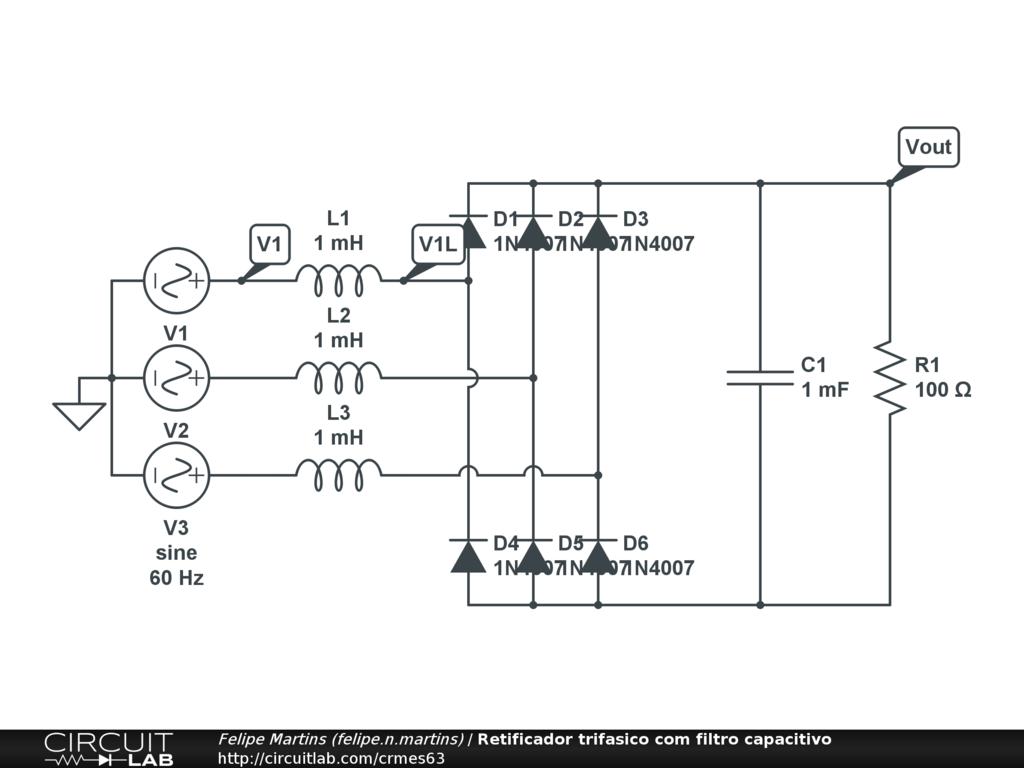 Public Circuits Tagged Three Phase Rectifier Circuitlab Zener Transistor Regulator Retificador Trifasico Com Filtro Capacitivo