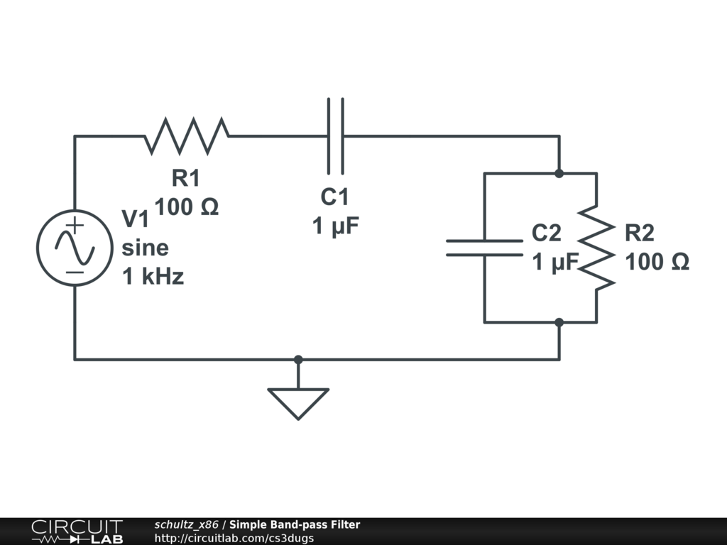 simple band pass filter circuitlab