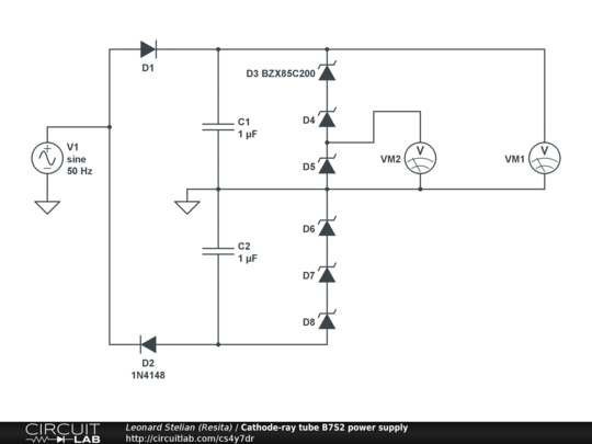 Cathode ray tube b7s2 power supply circuitlab description ccuart Images