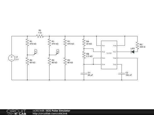 ecg pulse simulator circuitlab rh circuitlab com Potentiometer Circuit Digital Multimeter Circuit
