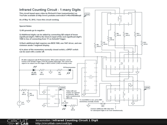 Infrared Counting Circuit 1 Digit - CircuitLab on tv power supply schematics, breadboard robot, mosfet power supply schematics, breadboard software, led power supply schematics, breadboard workstation, breadboard prototyping, breadboard usb socket,