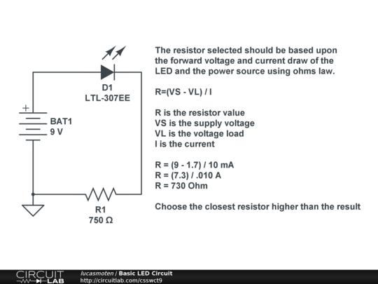 basic led circuit circuitlab. Black Bedroom Furniture Sets. Home Design Ideas