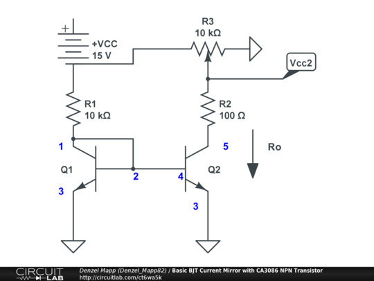basic bjt current mirror with ca3086 npn transistor