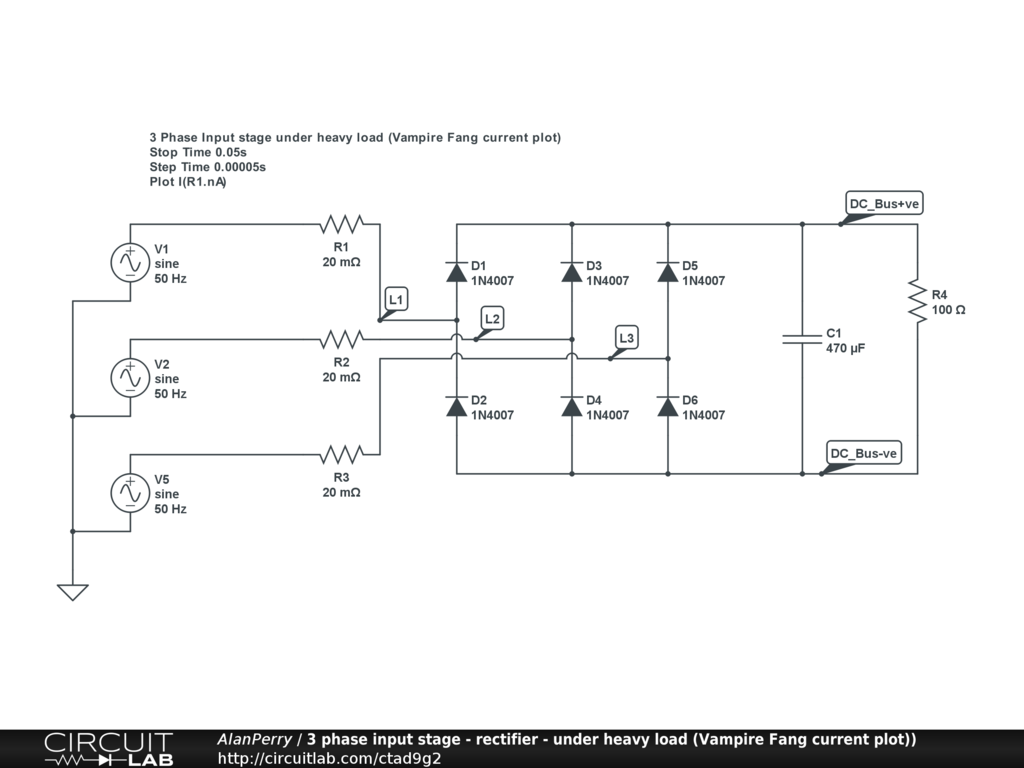 3 Phase Power Input Stage Heavy Load Electronics Circuitlab Monitor Schematic