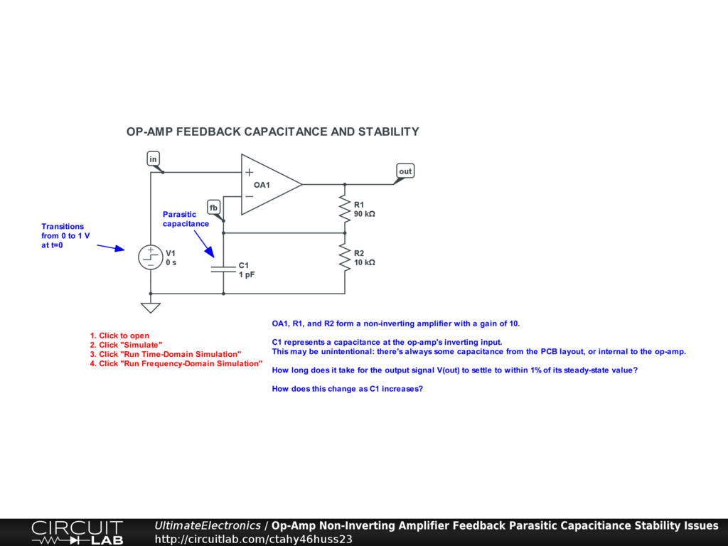 Op-Amp Non-Inverting Amplifier Feedback Parasitic Capacitiance Stability Issues