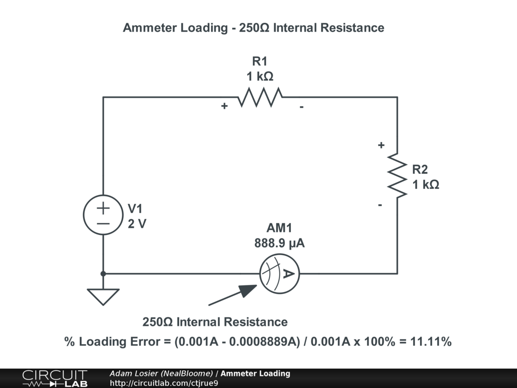 Ammeter Loading Circuitlab Circuit Diagram With